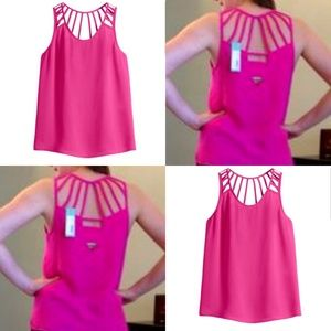 Skies are blue Pink strappy back tank top